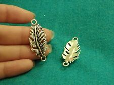 10 feather pendants charms Tibetan silver antique wholesale jewelry making UK -0