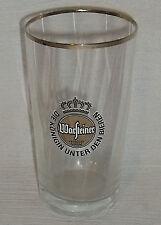 """Warsteiner Beer Tasting Glass 4.25"""" Vtg Gold Logo Advertising Cup"""
