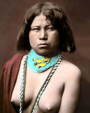 "MOJAVE NATIVE AMERICAN INDIAN WOMAN 8x10"" HAND COLOR TINTED PHOTOGRAPH"