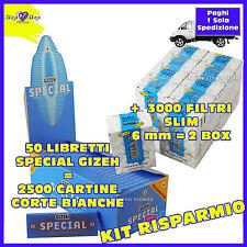 50 Cartine GIZEH special CORTE Bianche fini + 3000 filtri RIZLA SLIM 6mm 2 BOX