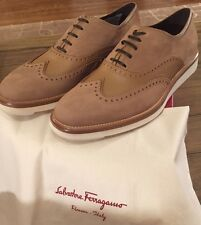 NIB Mens FERRAGAMO Wingtip Brogue Oxford Shoes -Tan Leather -SZ- 8.5