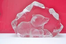 Large Signed Mats Jonasson  Swedish Heavy Lead Crystal Glass Paperweight Bear