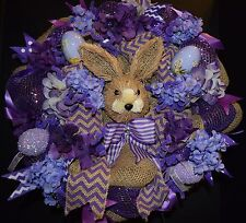 SALE !!!  Purple Easter Deco Mesh Holiday Swag Wreath, Door Decor,  Easter Bunny