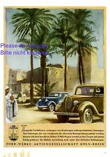 Ford Automobiles Cologne XL 1941 German ad Africa tropic oasis advertising ad