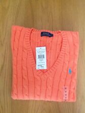POLO, Ralph Lauren women V neck jumper Medium Orange RRP£120