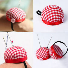 Plaid Grids Needle Sewing Pin Cushion Wrist Strap Tool Button Storages Holder EW