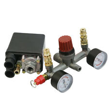 Air Compressor Pressure Switch Control Valve Manifold Regulator Gauges
