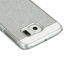 for Samsung Galaxy S6 - Silver Glitter Hard Back Plastic Snap On Skin Case Cover