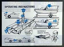 Batman CORGI Toy 107 BATBOAT & 267 BATMOBILE Reproduction OPERATION INSTRUCTIONS