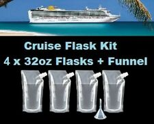 Cruise Flask Kit (4x 32oz + Funnel) Smuggle Alcohol Liquor Runner Rum Plastic