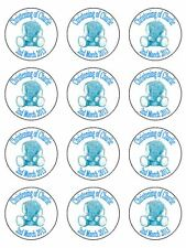 "12 x 2"" Personalised Boys Christening PRE CUT ICING Cup Cake Toppers Decorations"