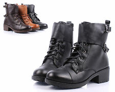 Black nn Faux Leather Cuban Ankle-High Low Heels Womens Combat Boots Size 7