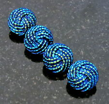 4 Startlingly Blue Turquoise and Cobalt Glass Buttons Made in Germany 4 Buttons