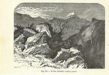 Stampa antica montagna Passo S.GOTTARDO GOTTHARD 1896 Old Print Switzerland