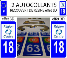 2 stickers plaque immatriculation auto TUNING DOMING 3D RESINE REGION CENTRE 18