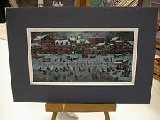 MATTED CHARLES WYSOCKI MINI PRINT BOSTONIANS AND BEANS WINTER ICE SKATING MATTED