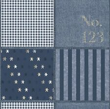 RASCH QUALITY STYLISH KIDS  BLUE STRIPE PATCHWORK/STARS FEATURE WALLPAPER 231304