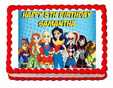 Superhero Girls Party Edible image Cake topper decoration - personalized free!