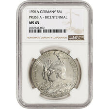 1901 A Germany Prussia Silver 5 Mark - Bicentennial - NGC MS63