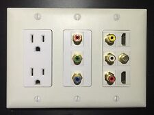 3 GANG Power Outlet 2x HDMI 1x Coax Composite & Component Stereo Wall Plate RGB
