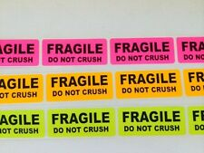 "100 1"" x 3"" Rainbow Pk FRAGILE DO NOT CRUSH Stickers Labels Org,Pink,Yellow Neon"