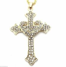 Entwined Heart Attached Bling Cross Women's Pendant Necklace Crystal Dangle New