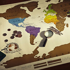 New Travel Edition Vacation Scratch Off World Map Creative Poster Present