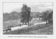 NEWCASTLE Terrace & Bowling Green in Heaton Park - Antique Print 1884
