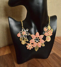 Pink flower jewel rhinestone collar necklace bib statement jewellery diamante