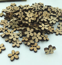FREE 100PCs Vintage Wood Buttons Sewing Scrapbooking Flowers Shaped 2 Holes 15mm