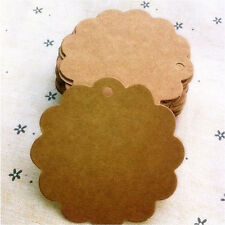 50Pcs Flower Round Kraft Paper Hang Tags Wedding Party Favor Label Gift Card