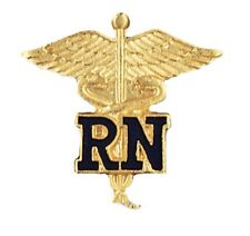 Blue RN Caduceus Lapel Pin Nurse Gold Plated Emblem Safety Catch New 1021