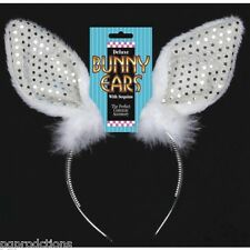 BUNNY RABBIT EARS HEADBAND Sequined Adult Easter Costume Silver White Animal