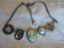 """New Lia Sophia Nostalgia 16-19"""" Necklace cameo pearl cut crystal"""