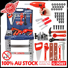 Tool Box Work Bench with Battery Operated Drill Set kids Pretend Play Toy 55pcs