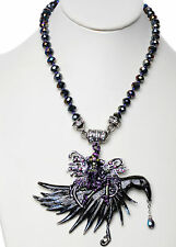 NEW KIRKS FOLLY CIRCE FAIRY WITCH & NIGHT RIDER CROW MAGNETIC ENHANCER NECKLACE