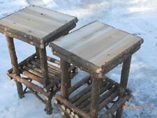 Twig Furniture Rustic Cedar Log End Table Handcrafted Handmade Set of Two