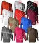 LADIES WOMENS OFF ONE SHOULDER BATWING TOPS LONG SLEEVED BAGGY SLOUCH TOP DRESS