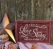 LOVE STORY Sign Rustic Wedding Inspirational Country Cottage Home HP Wood Decor