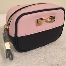 New~Victoria's Secret Mini Bold Travel Case Makeup Bag Pink Gold VS Metal Bow