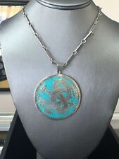 Vintage  Sterling Silver Dragon Pendant with Turquoise Enamel , signed SDC