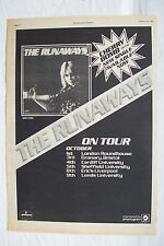 1976 - THE RUNAWAYS - Cherry Bomb + UK Tour Dates - Press Advert - Poster Size