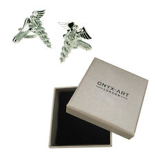 Mens Doctors Caduceus Symbol Medical Cufflinks & Gift Box By Onyx Art