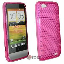 Cover Custodia Per HTC ONE V Fucsia Diamond Silicone Gel + Pellicola Display