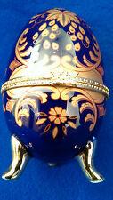 französisches Ei Porzellan wunderschönes Dekor mit Gold wie Limoges 12 x 7cm -3