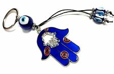 Blue Evil Eye Hamsa hand key chain ring amulet hanging ornament for protection