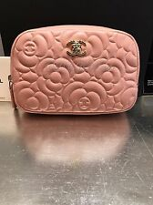 NWT CHANEL 2016 Nude Beige CAVIAR CAMELLIA SLG O-Case Zip Pouch Wallet Clutch