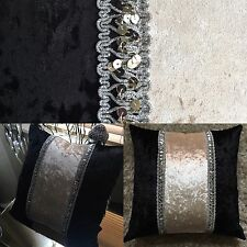 "��Hand Made 22"" Black/Cream Bling  Crushed Velvet Glitz Luxury Cushion Covers��"