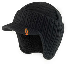 Scruffs Peaked Beanie Hat Black Insulated Warm Thermal Winter Stylish Peak Cap
