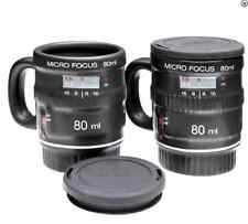 Camera Lens Expresso Mugs Set of 2 Micro Focus w/Lids By nuop 18.95 Retail